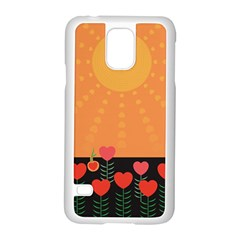 Love Heart Valentine Sun Flowers Samsung Galaxy S5 Case (white) by Simbadda