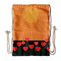 Love Heart Valentine Sun Flowers Drawstring Bag (large)