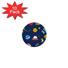 Space Background Design 1  Mini Buttons (10 Pack)  by Simbadda