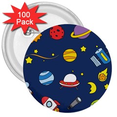 Space Background Design 3  Buttons (100 Pack)  by Simbadda