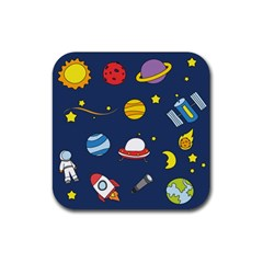 Space Background Design Rubber Square Coaster (4 Pack)  by Simbadda