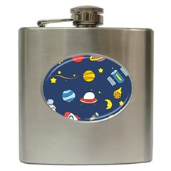 Space Background Design Hip Flask (6 Oz) by Simbadda