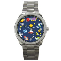 Space Background Design Sport Metal Watch by Simbadda