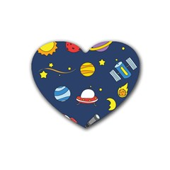 Space Background Design Heart Coaster (4 Pack)  by Simbadda