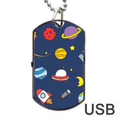 Space Background Design Dog Tag Usb Flash (one Side) by Simbadda