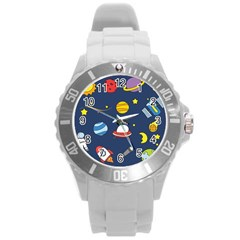 Space Background Design Round Plastic Sport Watch (l) by Simbadda