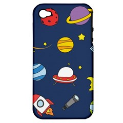 Space Background Design Apple Iphone 4/4s Hardshell Case (pc+silicone) by Simbadda