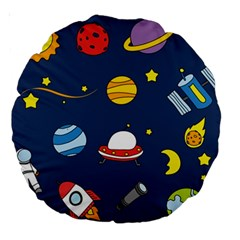 Space Background Design Large 18  Premium Round Cushions by Simbadda