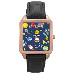Space Background Design Rose Gold Leather Watch  by Simbadda