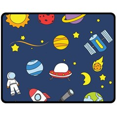 Space Background Design Double Sided Fleece Blanket (medium)  by Simbadda