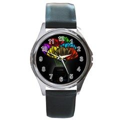 Flowers Painting Still Life Plant Round Metal Watch by Simbadda