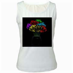 Flowers Painting Still Life Plant Women s White Tank Top by Simbadda