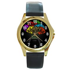 Flowers Painting Still Life Plant Round Gold Metal Watch by Simbadda