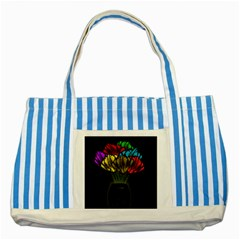 Flowers Painting Still Life Plant Striped Blue Tote Bag by Simbadda