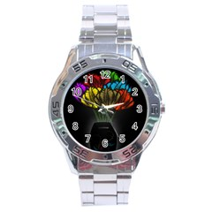 Flowers Painting Still Life Plant Stainless Steel Analogue Watch by Simbadda
