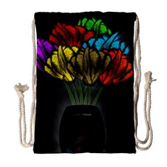 Flowers Painting Still Life Plant Drawstring Bag (large) by Simbadda