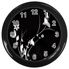 Plant Flora Flowers Composition Wall Clocks (black) by Simbadda