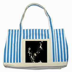 Plant Flora Flowers Composition Striped Blue Tote Bag by Simbadda