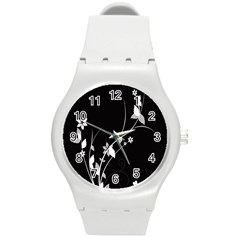 Plant Flora Flowers Composition Round Plastic Sport Watch (m) by Simbadda