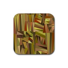 Earth Tones Geometric Shapes Unique Rubber Square Coaster (4 Pack)  by Simbadda