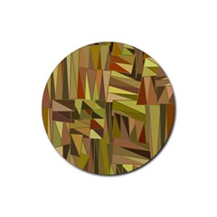 Earth Tones Geometric Shapes Unique Rubber Coaster (round)  by Simbadda