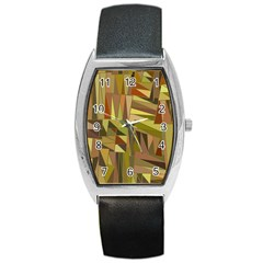 Earth Tones Geometric Shapes Unique Barrel Style Metal Watch by Simbadda