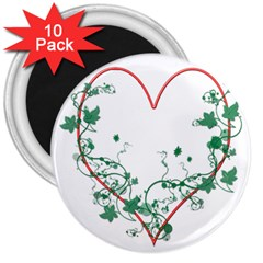 Heart Ranke Nature Romance Plant 3  Magnets (10 Pack)  by Simbadda