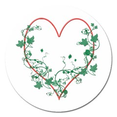 Heart Ranke Nature Romance Plant Magnet 5  (round) by Simbadda