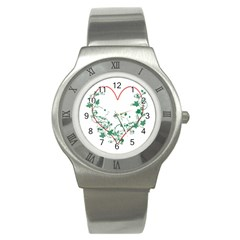Heart Ranke Nature Romance Plant Stainless Steel Watch by Simbadda
