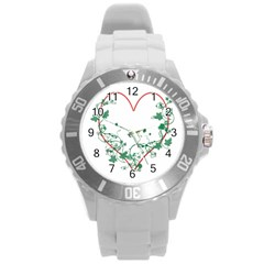 Heart Ranke Nature Romance Plant Round Plastic Sport Watch (l) by Simbadda
