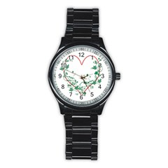 Heart Ranke Nature Romance Plant Stainless Steel Round Watch by Simbadda