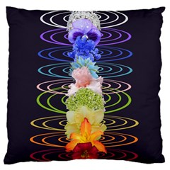 Chakra Spiritual Flower Energy Large Flano Cushion Case (one Side) by Simbadda