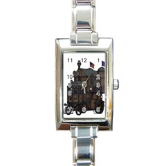 Steampunk Lock Fantasy Home Rectangle Italian Charm Watch by Simbadda