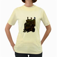 Steampunk Lock Fantasy Home Women s Yellow T Shirt