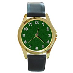 Texture Green Rush Easter Round Gold Metal Watch