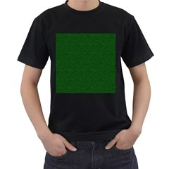 Texture Green Rush Easter Men s T-Shirt (Black) (Two Sided)