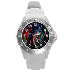 Abstraction Dive From Inside Round Plastic Sport Watch (l)