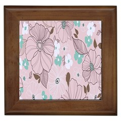 Background Texture Flowers Leaves Buds Framed Tiles by Simbadda