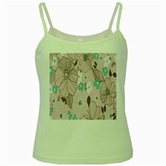 Background Texture Flowers Leaves Buds Green Spaghetti Tank by Simbadda