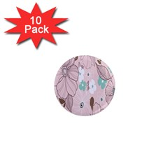 Background Texture Flowers Leaves Buds 1  Mini Magnet (10 Pack)