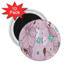 Background Texture Flowers Leaves Buds 2 25  Magnets (10 Pack)  by Simbadda