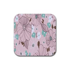 Background Texture Flowers Leaves Buds Rubber Square Coaster (4 Pack)  by Simbadda