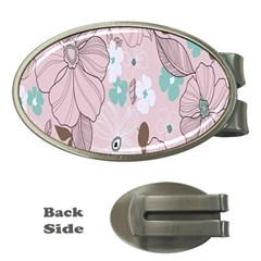 Background Texture Flowers Leaves Buds Money Clips (oval)  by Simbadda