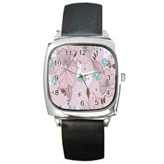 Background Texture Flowers Leaves Buds Square Metal Watch by Simbadda