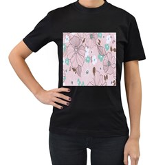 Background Texture Flowers Leaves Buds Women s T Shirt (black) (two Sided) by Simbadda