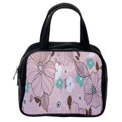 Background Texture Flowers Leaves Buds Classic Handbags (one Side) by Simbadda