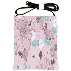 Background Texture Flowers Leaves Buds Shoulder Sling Bags by Simbadda