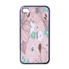 Background Texture Flowers Leaves Buds Apple Iphone 4 Case (black) by Simbadda