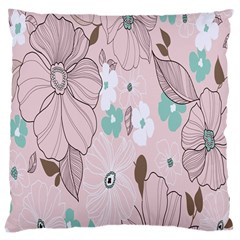 Background Texture Flowers Leaves Buds Large Cushion Case (one Side) by Simbadda