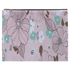 Background Texture Flowers Leaves Buds Cosmetic Bag (xxxl)  by Simbadda